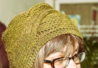 Emily's Headband - she turned the jumper to get the cable detail on the side - it looks like a wrap! nice technique