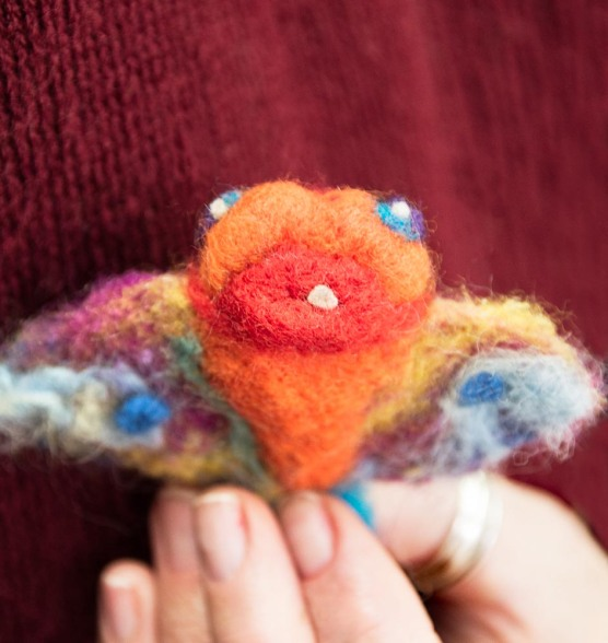 Needle felted fish - love that single tooth!