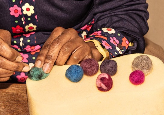 felting balls for a bold necklace