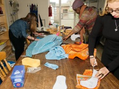 cutting out their fabrics - fab colours!