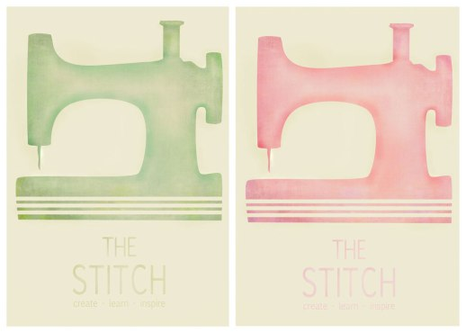 The Stitch Logo with texture - fundraising poster - pink and green versions tweaked