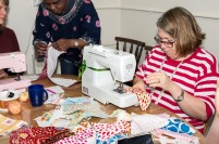 sewing the bunting