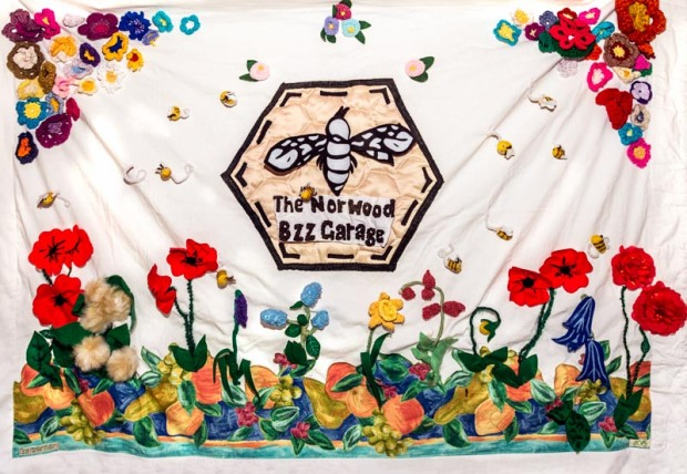 Wayne from Bzz Garage West Norwood gave us the banner we made to show off at the Feast stall :-)