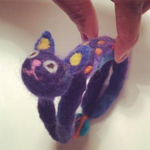 Elaine - Bunting and Pops needle felted cat bracelet