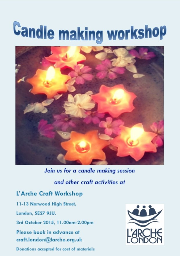 L'Arche London UK Candle Making Workshop 3rd October 2015