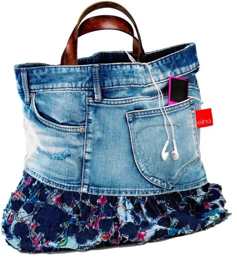 Upcycling Jeans into a Bag - tutorial from Elna.com