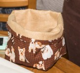Doggy fabric basket... we all said that this Stitchee will have to keep dog treats in this.