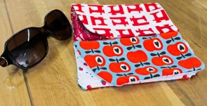 Sunglass slipcases in progress... the sewing machine version was hand printed using a stencil :-)