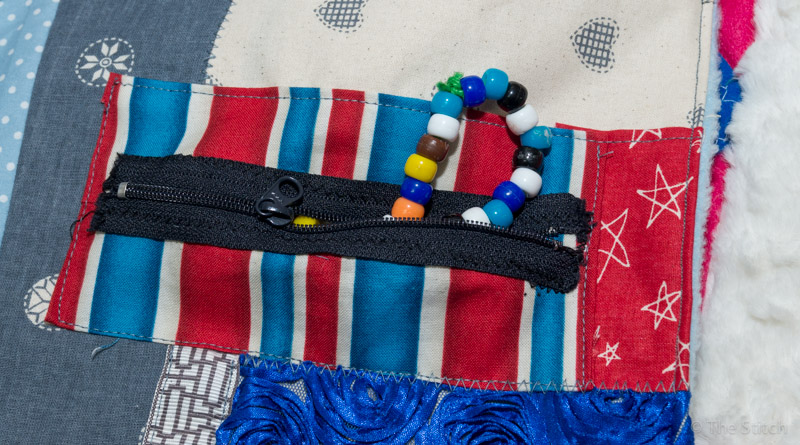 bead bracelet inside of this zipped pocket